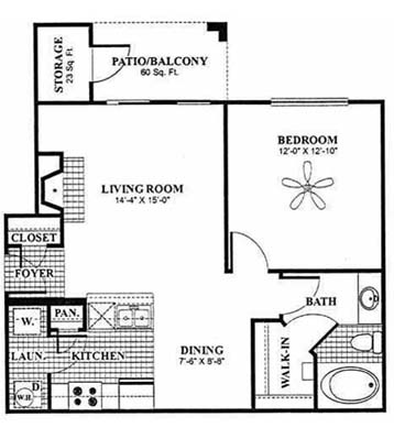692 sq. ft. Weiskopf - A1 floor plan