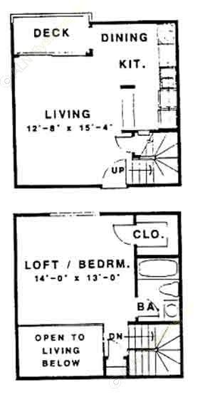 720 sq. ft. L floor plan