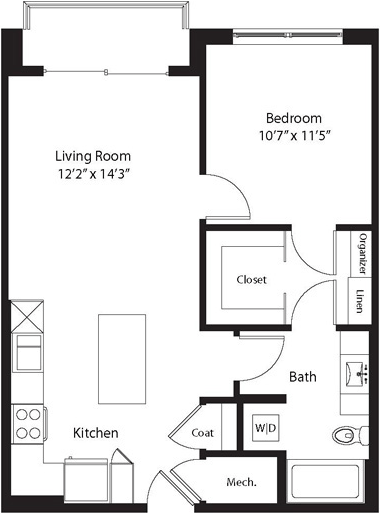 715 sq. ft. LA floor plan