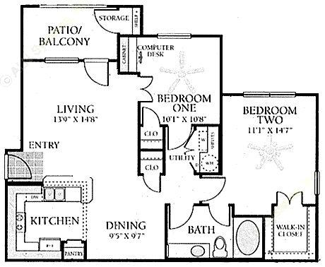 910 sq. ft. B floor plan