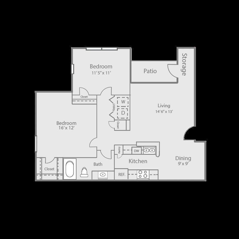 899 sq. ft. B1/MAPLE floor plan