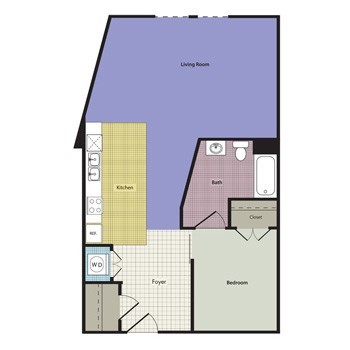 611 sq. ft. Thornbury floor plan
