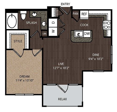 880 sq. ft. A3A 2nd floor plan