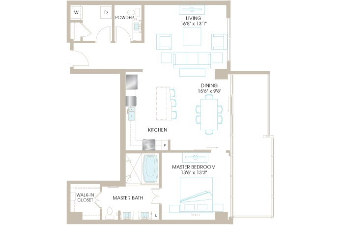 1,140 sq. ft. A7P floor plan