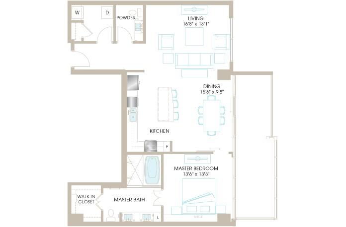 1,140 sq. ft. A7P floor plan