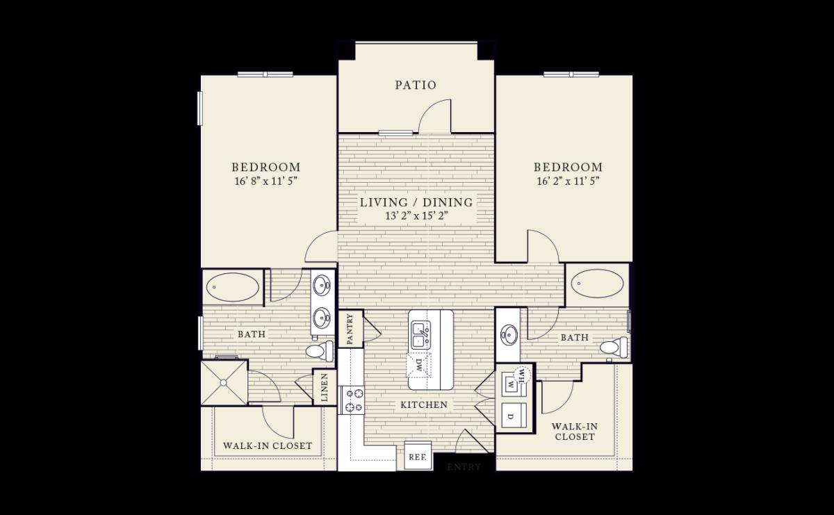 1,211 sq. ft. floor plan
