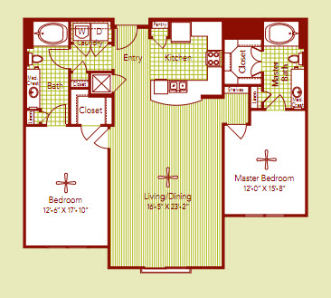 1,326 sq. ft. MONACO floor plan