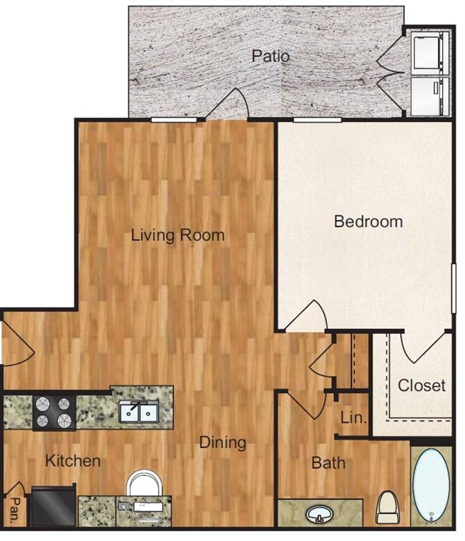 735 sq. ft. Mesquite floor plan