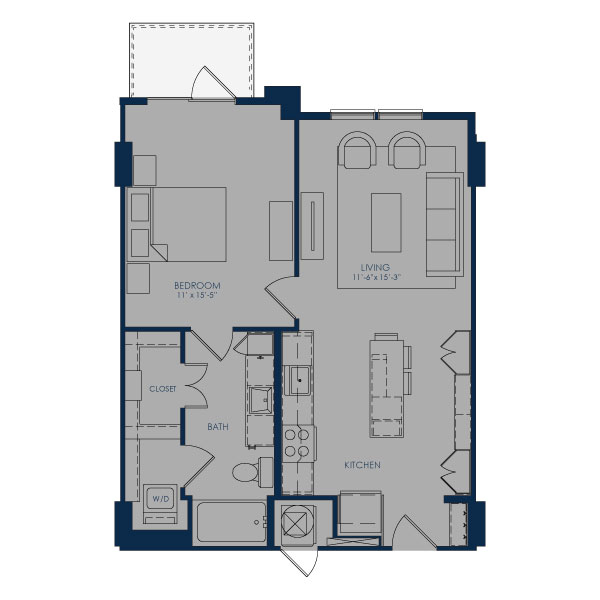 719 sq. ft. A24C floor plan