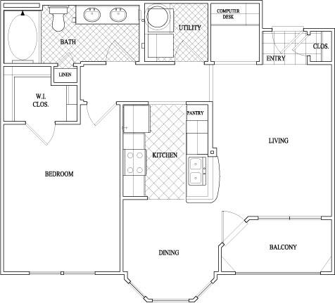 815 sq. ft. to 849 sq. ft. floor plan
