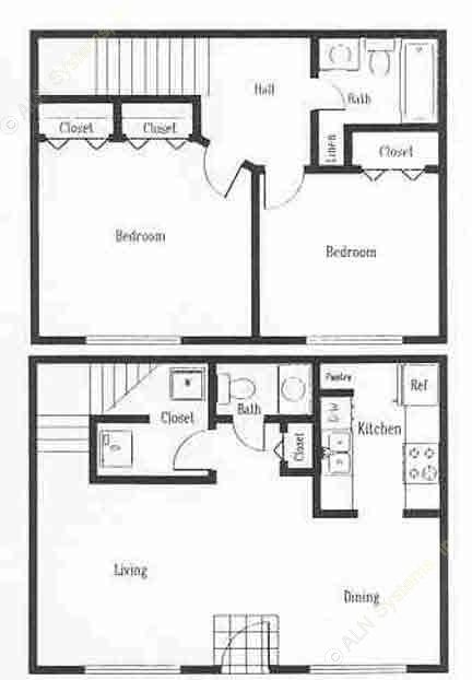 1,020 sq. ft. B2T floor plan