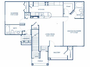 1,083 sq. ft. B1D floor plan