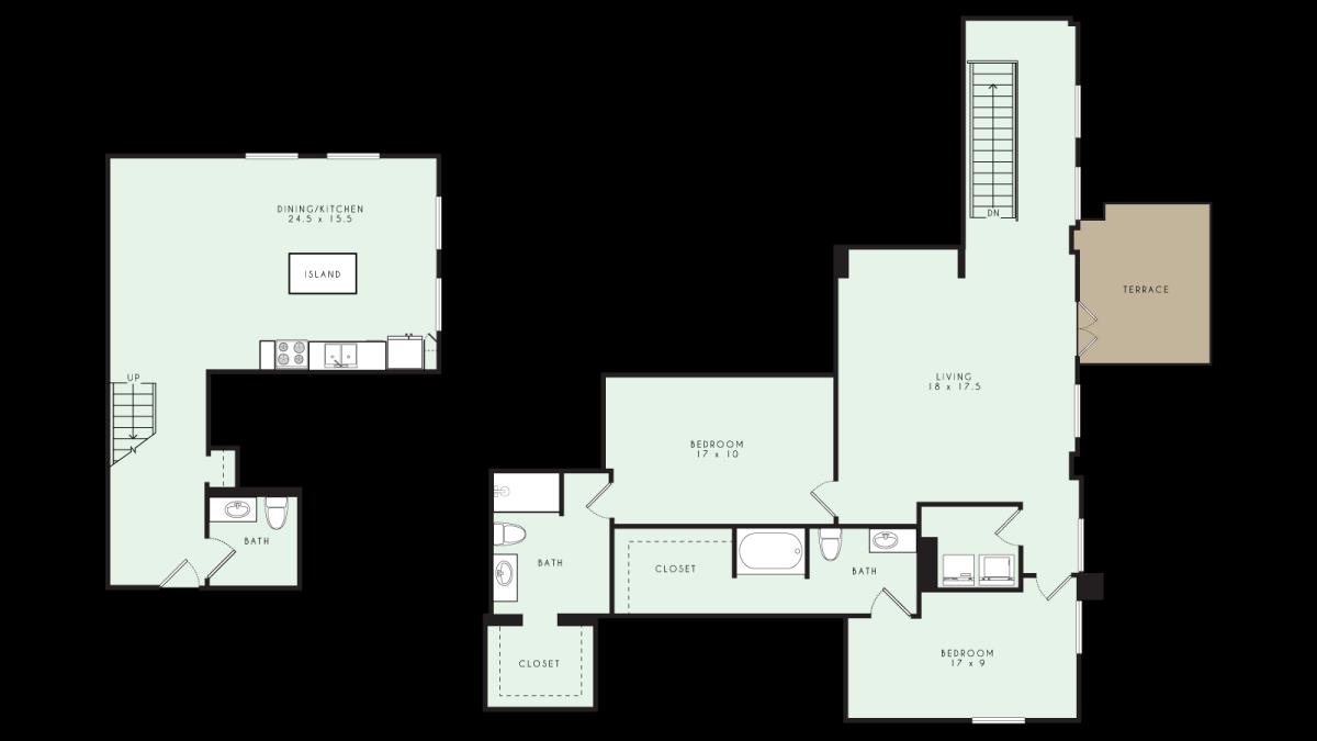 2,038 sq. ft. PH10 MKT floor plan