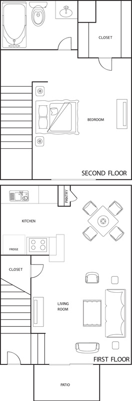 644 sq. ft. A3 floor plan