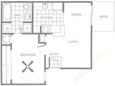 479 sq. ft. A1/A2 floor plan