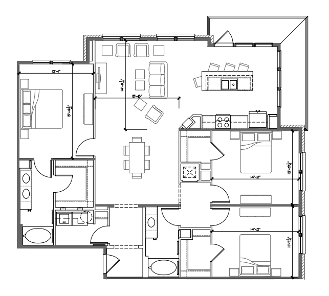 1,642 sq. ft. C1 floor plan