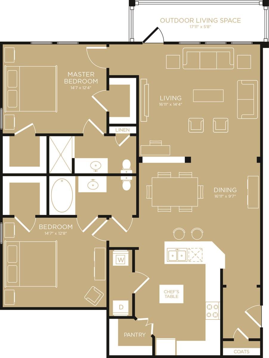1,400 sq. ft. Radiant floor plan