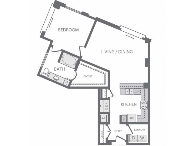 931 sq. ft. to 1,060 sq. ft. A12 floor plan