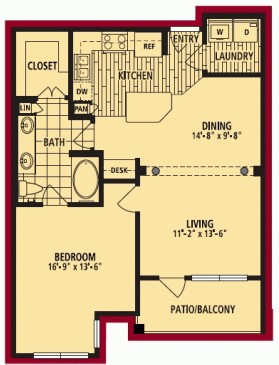 834 sq. ft. LAZIO floor plan