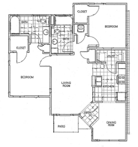 962 sq. ft. 60% floor plan