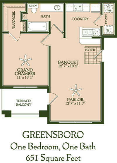 651 sq. ft. Greensboro floor plan
