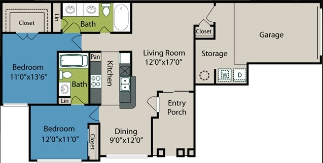 1,035 sq. ft. B1 floor plan
