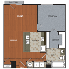943 sq. ft. A1 floor plan