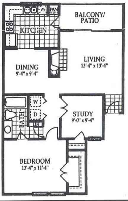 861 sq. ft. A2 floor plan