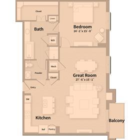 1,218 sq. ft. B3 floor plan