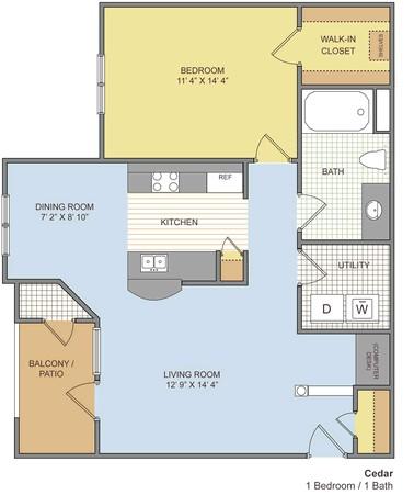 750 sq. ft. Cedar floor plan