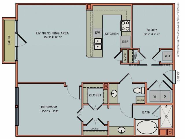 1,053 sq. ft. 2AS1 floor plan