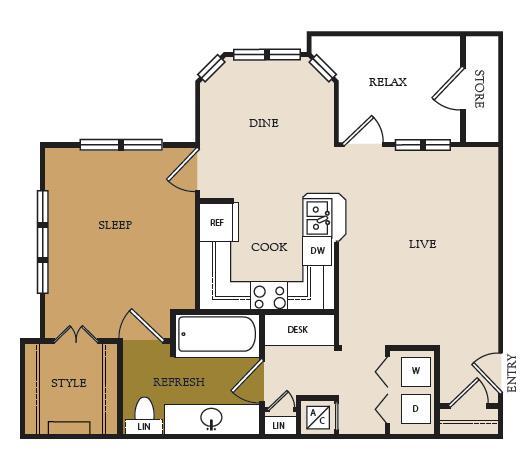 810 sq. ft. A2-A floor plan