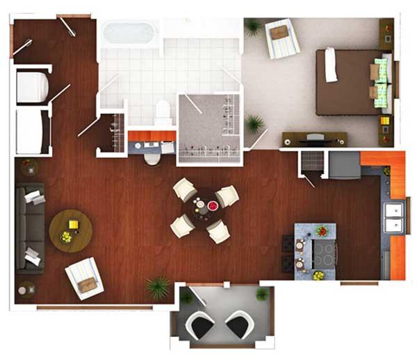 824 sq. ft. Ag5.1 floor plan