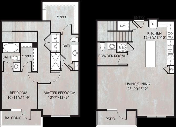 1,496 sq. ft. TH1.1 floor plan