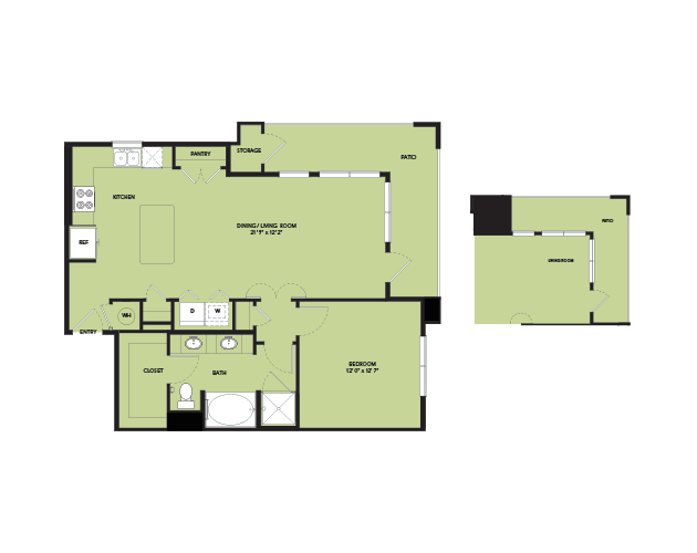 882 sq. ft. A6 floor plan