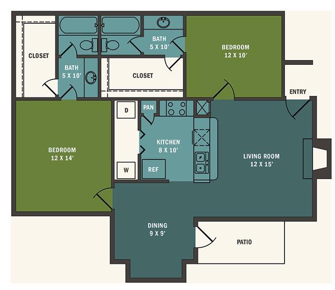 985 sq. ft. B2 floor plan
