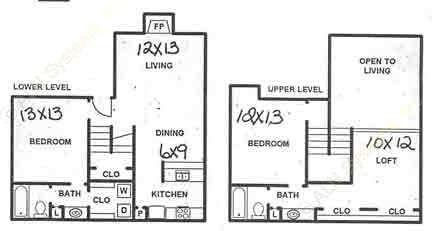 1,255 sq. ft. B3L floor plan
