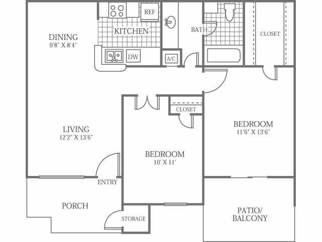 851 sq. ft. E floor plan