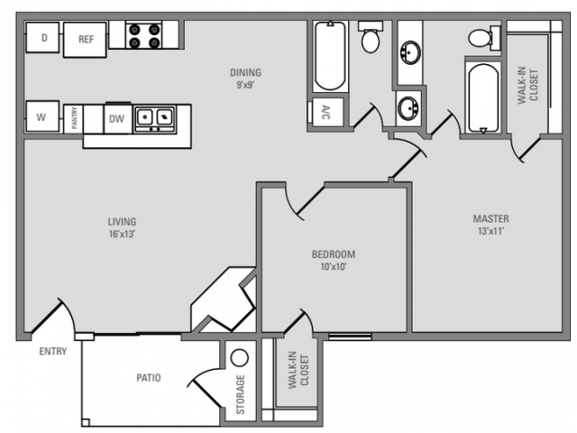890 sq. ft. Windover floor plan