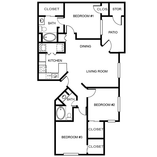 1,176 sq. ft. Estate floor plan