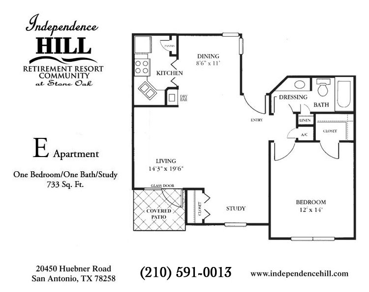 733 sq. ft. E floor plan