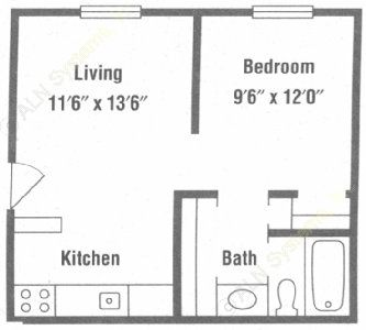 422 sq. ft. A1 floor plan