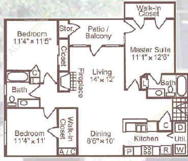 1,278 sq. ft. C1 floor plan