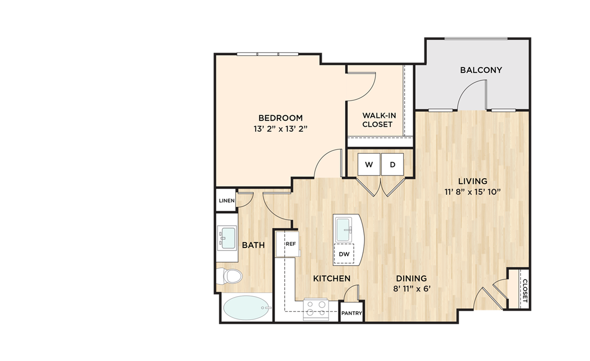 840 sq. ft. to 851 sq. ft. A2 floor plan
