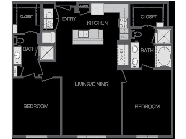 1,189 sq. ft. to 1,240 sq. ft. B2 floor plan