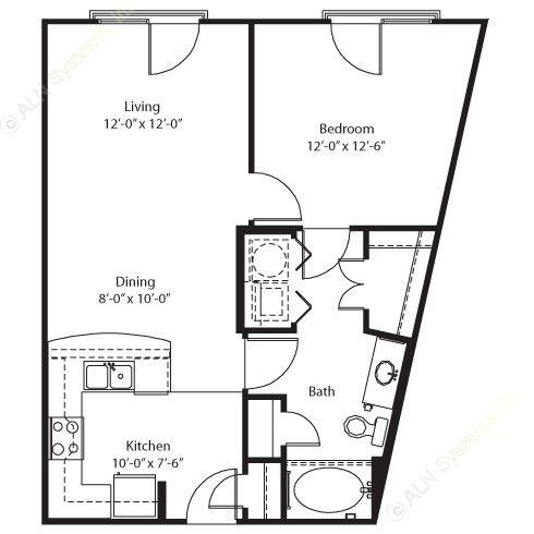 695 sq. ft. Brazos floor plan