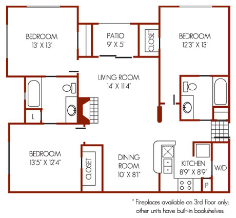 1,252 sq. ft. E1 floor plan