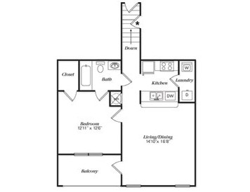 809 sq. ft. A1UG floor plan