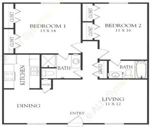 1,002 sq. ft. Q floor plan