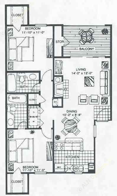 906 sq. ft. B2A floor plan